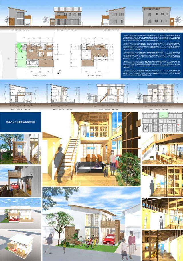 家具のような構造体の箱型住宅(南日本美術展)